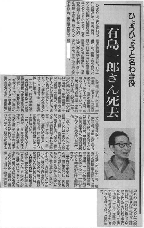 有島一郎訃報記事