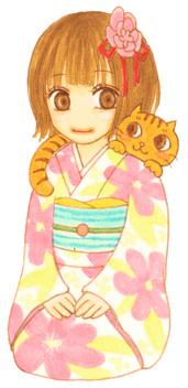 女の子と猫。(自画像ではないです)
