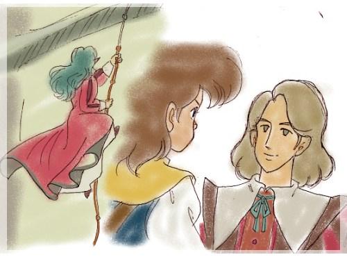 壁をよじ登るミレディーさんと、パトリック殿に会うダルタニャン