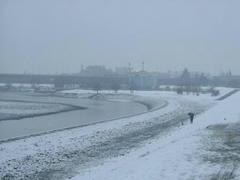 多摩川の雪景色