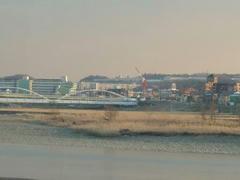 夕日を浴びる多摩川