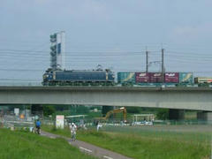 多摩川鉄橋の貨物列車