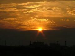 多摩川の夕日