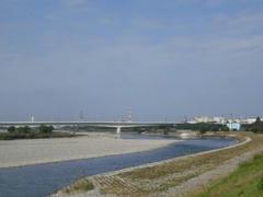 快晴の多摩川