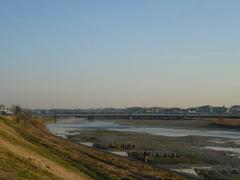夕日に輝く多摩川