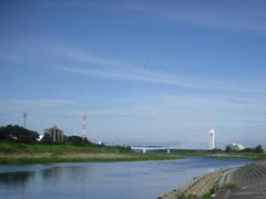早朝の多摩川風景