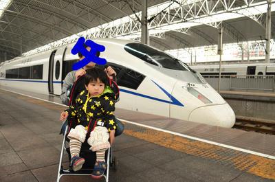 上海駅にて新幹線と
