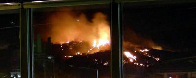 近鉄奈良駅の上から見た若草山々焼き