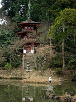 これが浄瑠璃浄土の三重塔です。