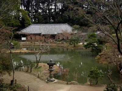 本堂は塔と池を挟んで向かい合います。