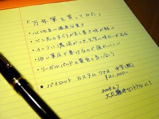 リーガルパッドに万年筆で書いてみた。