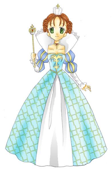 一度描いてみたかったエリザベスカラーのドレスが描けて満足です。 名前の綴りはハリポタのハーマイオニーと同じです。 読み方でこうも違う印象の名前になるとは驚き