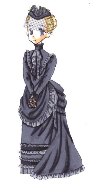 という絵ということでエシャロット用のバッスルスタイルの喪服のデザインを流用。 ヴェールの部分はトーンを引っ張り出して貼りました。