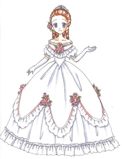 絵は17歳の時にデザインしたシンデレラの改訂版。 ドレスのボリューム感に対して髪型がシンプルすぎたので、華やかな縦ロールにしてみました。