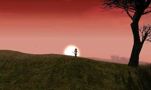 夕日に向かって走るんだよぉー!!
