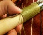 グリップの糸巻き作業