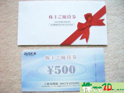 500円の優待券|ダスキン株主優待