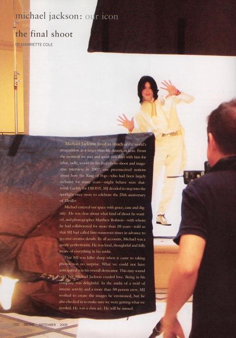 『EBONY』誌での最後の撮影、マイケル・ジャクソン