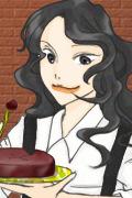 【企】人参屋様(線画)&セシリア・フィーネ様(塗り)作/絵師の間・梔子様主催【OL大陸線画塗り交換企画】で。ケーキを持って嬉しそう。