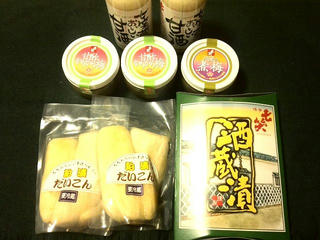 140420_2205_七笑酒造の「蔵開き」で購入した商品(木曽町)