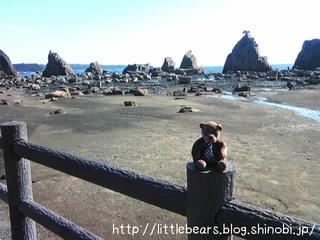 橋杭岩とテディベア