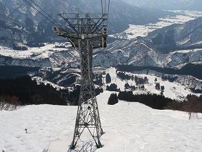 八海山スキー場ロープエーからコースを望む