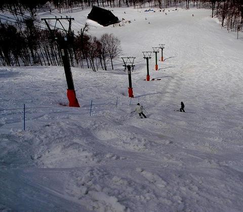 奥只見丸山スキー場 カモシカAコース下部_モーグルのライン上から
