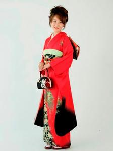 赤黒振袖着付け込貸衣装39900円群馬県高崎市