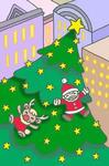 都会の巨大クリスマスツリー