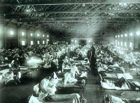 スペインかぜが流行した際の野戦病院