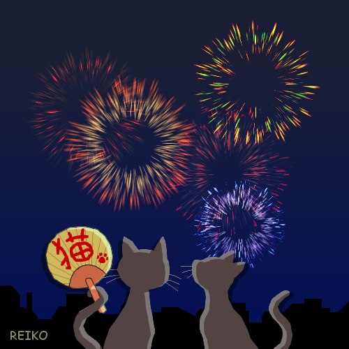 花火と猫のイラスト