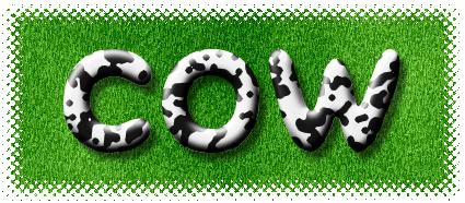 牛模様の立体ロゴ