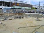 福山駅前の遺跡発掘現場