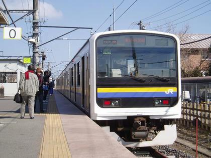 成東駅0番線に止まる209系