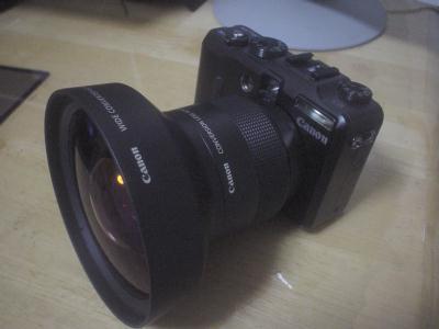 Canon PowerShot G9に広角レンズを装着