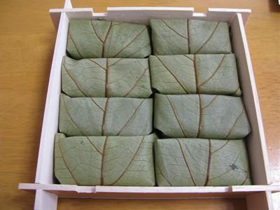 柿の葉寿司 中ふたを開けたところ