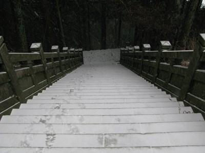 雪が積もった石段(奥の院前)