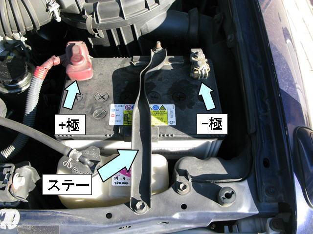エンジンルーム内のバッテリー