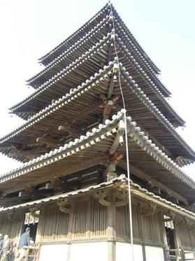 五重塔、下から