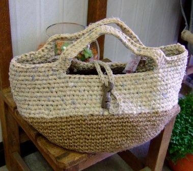 麻と裂き布のバッグ