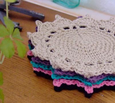 カラフル 手編みコースター