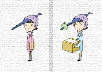 キャラクターイラストのブックカバー「OLキャラ・ノコギリ秘書」