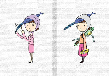 キャラクターイラストのブックカバー「OLキャラ・ノコギリ秘書.2」
