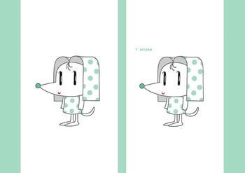 キャラクターイラストのブックカバー「水玉犬」