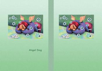 メルヘンイラストブックカバー 「天使犬 - 酔いつぶれて」