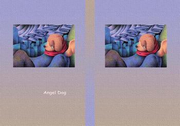 メルヘンイラストブックカバー 「天使犬 - オーロラの夜」
