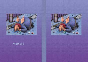 メルヘンイラストブックカバー 「天使犬 - 泥酔」