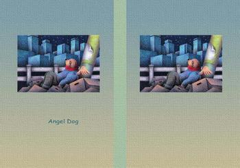 メルヘンイラストブックカバー 「天使犬 - 星の瞬き」