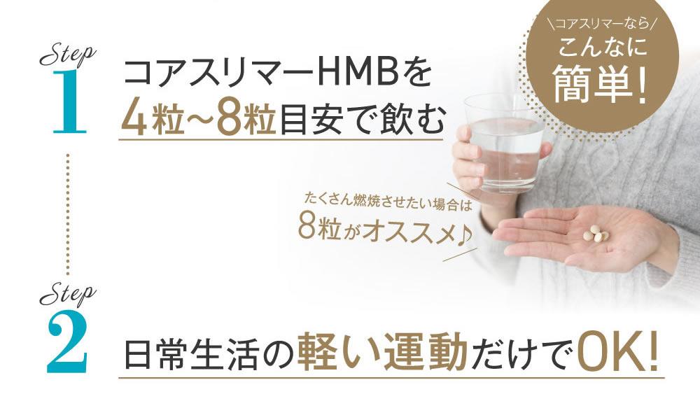 コアスリマーHMBは4~8粒飲んで軽い運動でOK