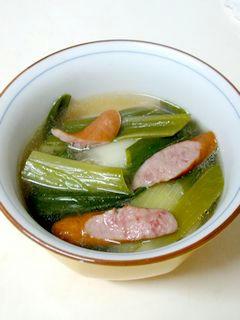 ネギとソーセージの洋風スープ